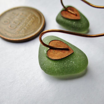 Bright OLIVE sea glass earrings | eco friendly | Genuine sea glass sea glass
