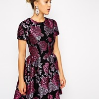 ASOS Structured Dolly Skater Dress in Floral Jacquard