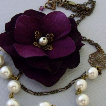 Deep Purple Fabric Floral Necklace With by pinkingedgedesigns