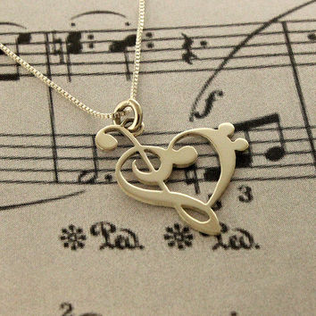 """G clef bass clef heart Necklace silver music note Treble clef Pendant charm necklace music note necklace 18"""" inches Sterling Silver Chain"""