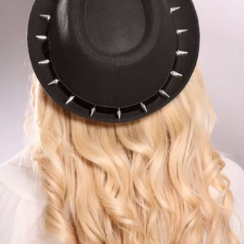 Black Spike Studded Faux Leather Band Curved Brim Fedora