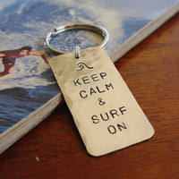 Keep Calm and Surf On, Wave Keychain, Custom Hand Stamped Hammered Nickel Silver, Personalized Surfing Key Chain Mens Gift Accessories