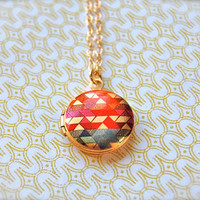 The Color Study II Mini Locket  Vintage  Gold by verabel on Etsy