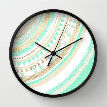 Mint + Gold Tribal Wall Clock by Tangerine-Tane