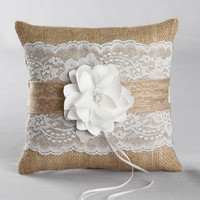 Rustic Garden Burlap and Lace Ring Pillow
