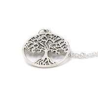 Silver Tree Of Life Necklace, Charm Necklace, Charm Jewelry, Antique Silver Necklace, Family Tree Necklace, Pewter Tree Of Live Pendant