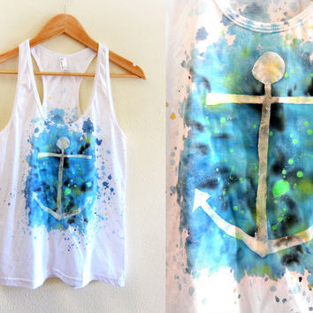 Anchors Away  Splash Dyed Scoop Neck Racerback by twostringjane