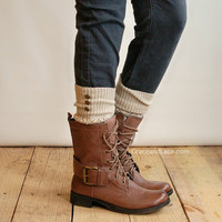 LouLou - Natural: Open-work Leg warmers with Rubbed Bronze Metal Buttons - Legwarmers boot socks (item no. 9-14)