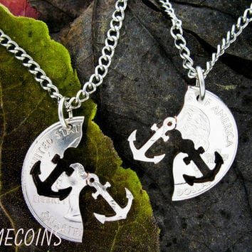 Anchor Interlocking Relationship Halves Quarter, hand cut coin