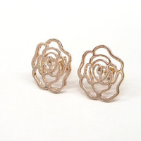 A rose gold plated lovely rose pattern ear stud, a girl friend gift.