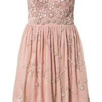 EMBELLISHED BANDEAU SKATER DRESS