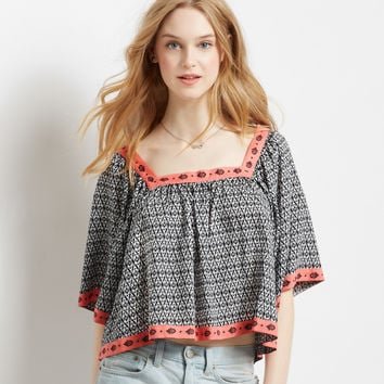 Ikat Crop Peasant Top