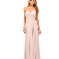 Cream Chiffon Strapless Sweetheart Corset Long Gown 2015 Prom Dresses