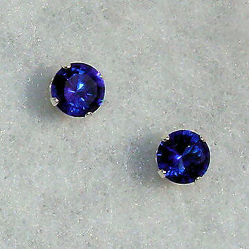 2mm 006 carats created Ceylon Sapphire Stud Earrings by 1000jewels