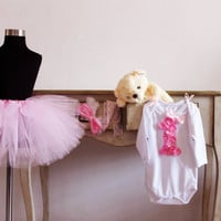 1st birthday outfit pink tutu skirt with Onesuit and by bonbonLand