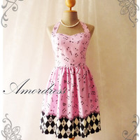 Music Lover - Pink Dress Music Note Summer Retro Party Cocktail Bridesmaid Birthday Concert Anniversary Event All Party Every Day Dress