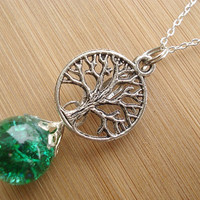 Tree of Life Green Crackle Glass Marble Necklace