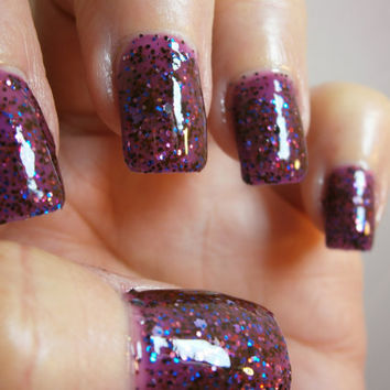 Wild Berry Blast Nail Lacquer -  Purple Smoothie Glitter Custom Nail Polish- Full Size Jar With Clear and Brush