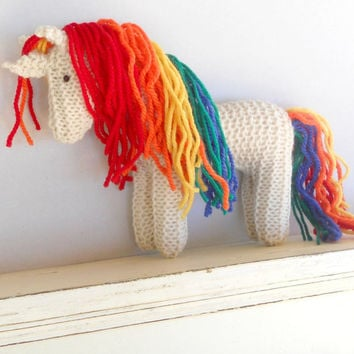 Earth Pony, Waldorf Toy,  Rainbow Unicorn, Stuffed Animal Horse, Eco Kids Toy, HandKnit, All Natural Childrens Toy