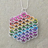 Rainbow Chain Maille Pendant in Dragonscale Weave by XairianMaille