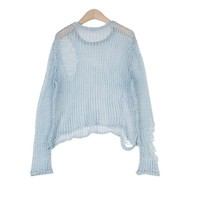 Distressed Sky Blue Pullover