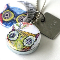 Owl Locket Necklace - Wise Stamped Necklace Jewelry - Picture Locket By Polarity and Corid