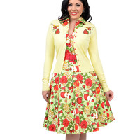 Yellow & Red Strawberries & Butterflies Embroidered Button Up Cardigan