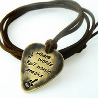 Where words fail music speaks Guitar Pick Necklace, Hand Stamped Necklace, Boyfriend, Friend,  Husband, Dad, Son Gift