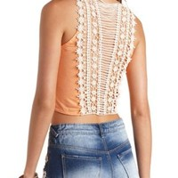 Crochet Back Tie-Front Crop Top by Charlotte Russe