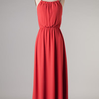 Valentine Dress -Maxi With Tying Bow - Coral