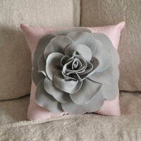 Pillows Light Grey Rose on Light Pink Pillow 14x14 by bedbuggs