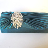 Comp Shipping: Teal Clutch, Teal Wedding, Teal Purse, Evening Bag, Rhinestone Evening Bag Bridesmaid