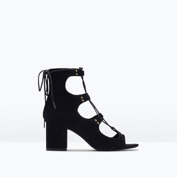 Lace-up high-heeled sandals