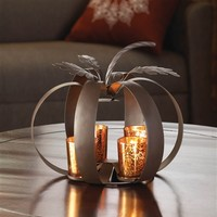 Iron Pumpkin Candle Holder Display