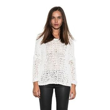 Women's Powder Sweater Cozy Knit Long Sleeve Pullover by One Grey Day White