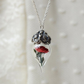 Necklace Terrarium Red Rose Flower by WoodlandBelle on Etsy