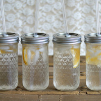 Four 12 Ounce Mason Jar Tumblers  Quilted by PoppyandPearlCo