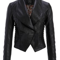 Pretty Attitude Womens Black Punk Biker PU Leather Slim Fit Moto Jacket