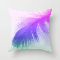 Painted Feather Throw Pillow by Ally Coxon
