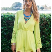 Wendi - chartreuse playsuit with lace details