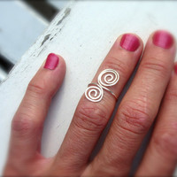 Delicate and Versatile Hand Hammered Silver Plated Adjustable Ring, Pinkie, Toe, Mid Finger