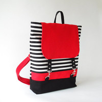 So Chic, So Stylish Black Stripe Red Flap Backpack, Unique Design of BagyBag