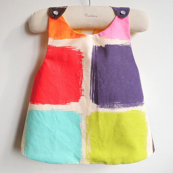 Reversible Pinafore top or dress - The Montmartre - French Style - 6 months to 5Y