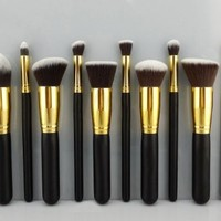 Premium Synthetic Kabuki Makeup Brush Set Cosmetics Foundation Blending Blush Eyeliner Face Powder Brush Makeup Brush Kit (10pcs, Golden Black)