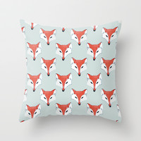Fox Pattern on Sage Throw Pillow by Perrin Le Feuvre