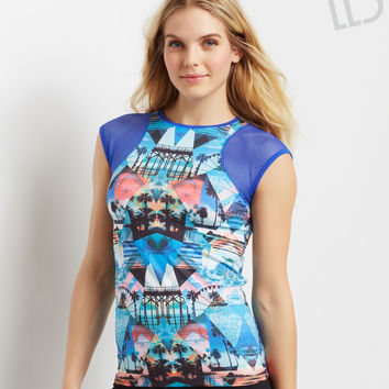 LLD Photo Collage Mesh Sleeve Top