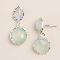 Moonstone and Aqua Double Drop Earrings - World Market