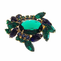 Vintage Molded Faceted Glass Blue Crab Brooch Pin