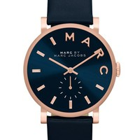 Women's MARC BY MARC JACOBS 'Baker' Leather Strap Watch, 37mm - Navy/ Rose Gold