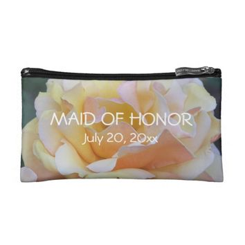 Pastel Rose Maid of Honor Cosmetics Bags